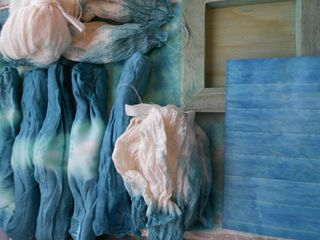 Dyed items drying
